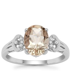 Peacock Parti Oregon Sunstone Ring with White Zircon in 9K White Gold 1.69cts