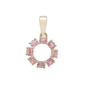 Padparadscha Sapphire Pendant in 9K Gold 1cts