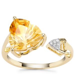 Lehrer Infinity Cut Diamantina Citrine Ring with Diamond in 9K Gold 3.45cts