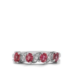 Padparadscha Sapphire & White Zircon 9K White Gold Ring ATGW 1cts
