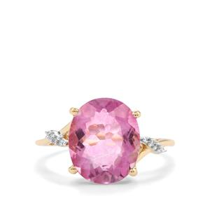 Natural Pink Fluorite Ring with Diamond in 10K Gold 5.70cts