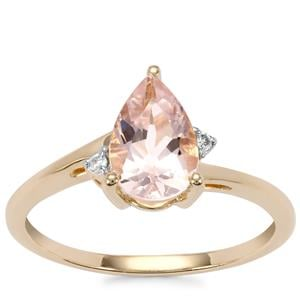 Alto Ligonha Morganite Ring with Diamond in 9K Gold 1.11cts