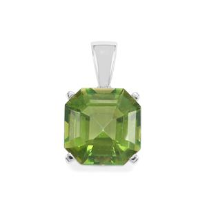 Fern Green Quartz Asscher Cut Pendant in Sterling Silver 7.12cts