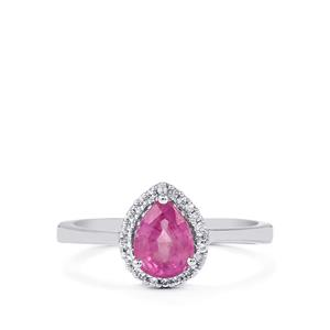 Ilakaka Hot Pink Sapphire Ring with White Topaz in Sterling Silver 1.63cts (F)