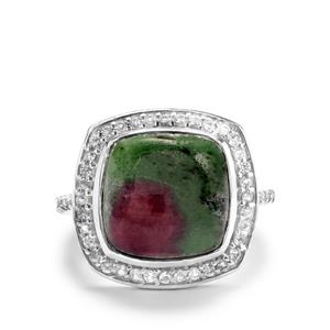 Ruby Zoisite Ring with White Topaz in Sterling Silver 9.81cts