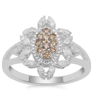 Champagne Diamond Ring with White Diamond in Sterling Silver 0.52cts