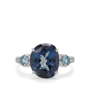 6.74ct Hope & Swiss Blue Topaz Sterling Silver Ring