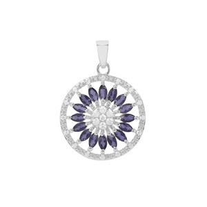 Bengal Iolite Pendant with White Zircon in Sterling Silver 2.76cts