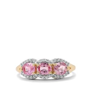 Sakaraha Pink Sapphire Ring with White Zircon in 9K Gold 1.42cts