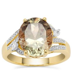 Csarite® Ring with Diamond in 18K Gold 5.34cts