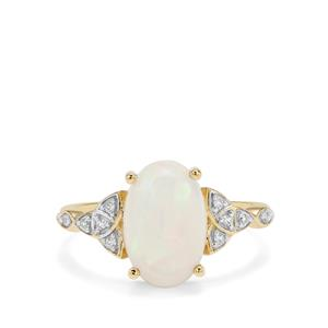 Kelayi Opal Ring with White Zircon in 9K Gold 2.43cts