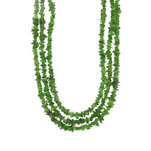 200ct Chrome Diopside Sterling Silver 3 Row Nugget Bead Necklace