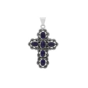 Sar-i-Sang Lapis Lazuli Cross Pendant in Sterling Silver 7cts