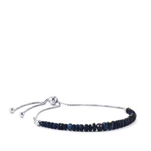Burmese Blue Sapphire Graduated Slider Bead Bracelet in Sterling Silver 9.50cts