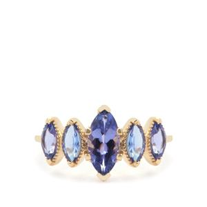 AAA Tanzanite Ring in 9K Gold 2.10cts