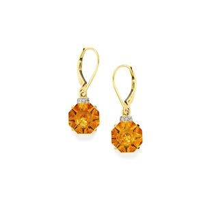 Lehrer QuasarCut Rio Golden Citrine & White Zircon 10K Gold Earrings ATGW 6.43cts