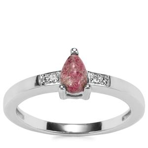 Bixbite Ring with Diamond in Sterling Silver 0.41ct