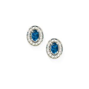 Brazilian Neon Apatite & White Zircon 9K White Gold Earrings ATGW 1.30cts