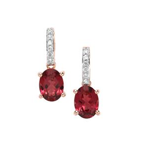 Mahenge Pink Garnet Earrings with White Zircon in 10K Rose Gold 3.26cts