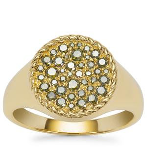 Green Diamond Ring in Gold Plated Sterling Silver 0.51ct