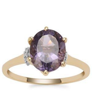 Montezuma Blue Quartz Ring with Diamond in 9K Gold 2.41cts