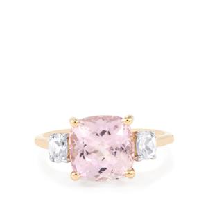 Mawi Kunzite Ring with White Zircon in 9K Gold 4.80cts