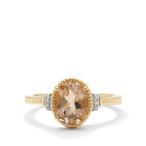 Bolivian Natural Champagne Quartz Ring with White Zircon in Gold Plated Sterling Silver 1.54cts