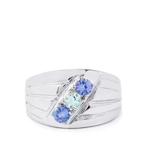 Tanzanite Ring with Espirito Santo Aquamarine in Sterling Silver 0.77cts