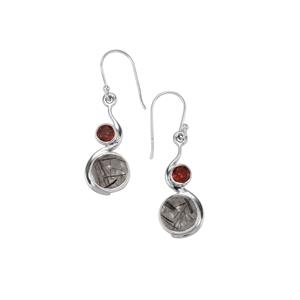 São Paulo Tourmalinated Quartz Earrings with Nampula Garnet in Sterling Silver 9cts