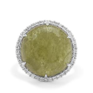 Grossular Ring with White Zircon in Sterling Silver 19.40cts
