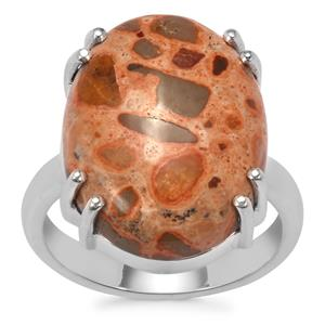 Mexican Jasper Ring in Sterling Silver 14.17cts