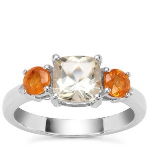 Serenite, Mandarin Garnet Ring with White Zircon in Sterling Silver 2.26cts