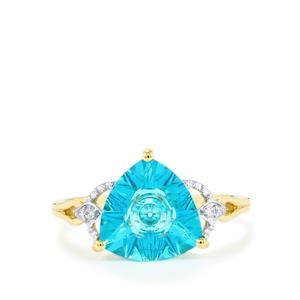 Lehrer QuasarCut Batalha Topaz Ring with Diamond in 10k Gold 3.39cts