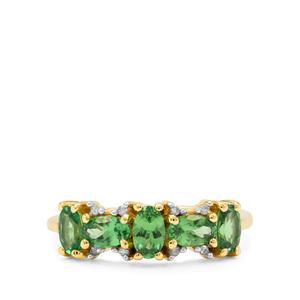 Tsavorite Garnet Ring with Diamond in 9K Gold 1.20cts