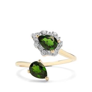 Chrome Diopside & White Zircon 9K Gold Ring ATGW 1.65cts