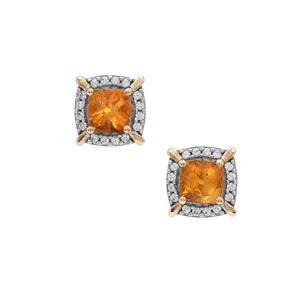 Mandarin Garnet Earrings with White Zircon in 9K Gold 1.60cts