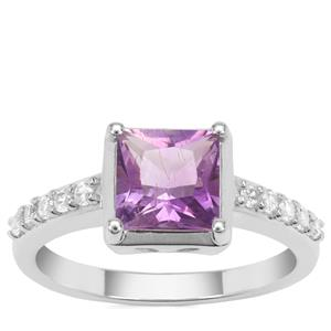 Moroccan Amethyst Ring with White Zircon in Sterling Silver 1.91cts