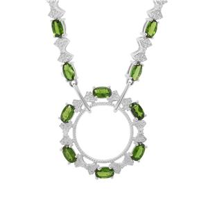 Chrome Diopside & White Zircon Sterling Silver Necklace ATGW 3.92cts