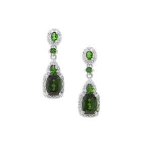Chrome Diopside Earrings with White Zircon in Sterling Silver 4.08cts