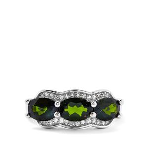 Chrome Diopside & White Topaz Sterling Silver Ring ATGW 2.72cts