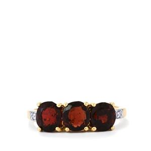 Natural Burmese Spinel Ring with Diamond in 10k Gold 2.77cts