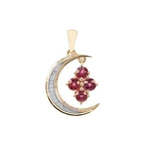 Savanna Pink Garnet Moon Design Pendant with Diamond in 9K Gold 1.34cts