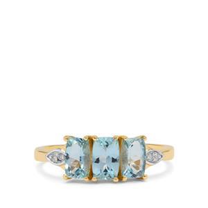 Santa Maria Aquamarine Ring with Diamond in 9k Gold 1.30cts