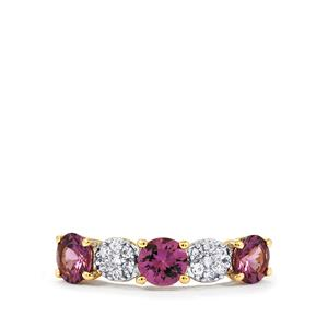Mahenge Purple Spinel Ring with White Zircon in 9K Gold 1.80cts