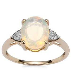 Ethiopian Opal Ring with Diamond in 10K Gold 1.56cts