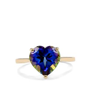 Mystic Blue Topaz Ring in 9K Gold 4cts