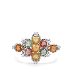 Songea Rainbow Sapphire & White Zircon Sterling Silver Ring ATGW 2.25cts