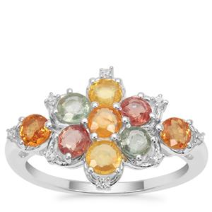 Songea Rainbow Sapphire Ring with White Zircon in Sterling Silver 2.25cts