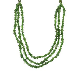 Chrome Diopside 3 line Nugget Bead Necklace in Sterling Silver 145cts
