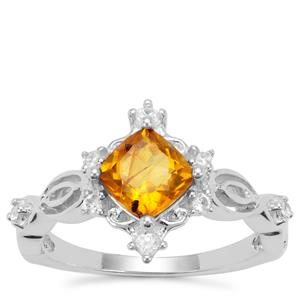 Burmese Amber Ring with White Zircon in Sterling Silver 0.58ct